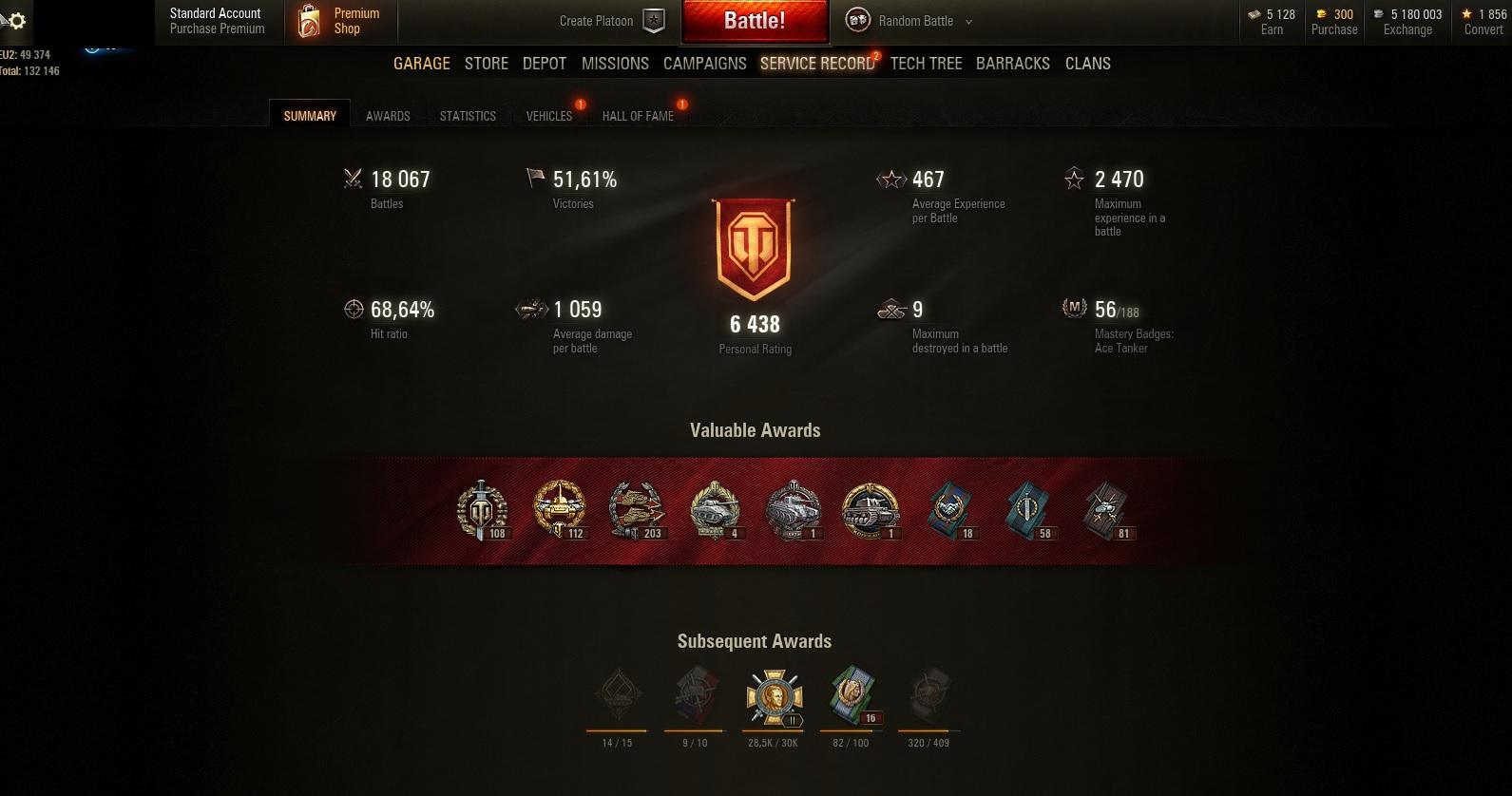 Personal Rating:6438! ! Victories:51,61%!! Tanks:28! T26E4 SuperPershing, T-50-2 , TKS z n.k.m 20 mm!