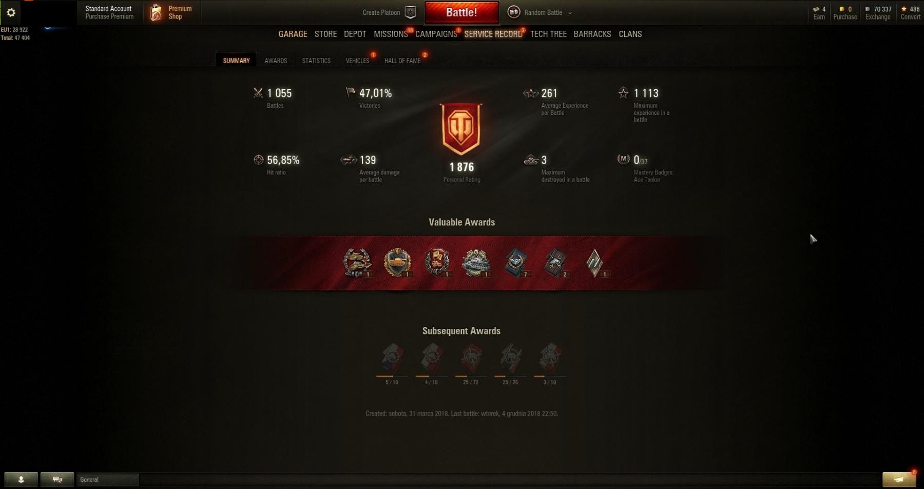 Personal Rating:1876! Victories: 47,01%!  8 TANKS: MKA, Lowe, AMX 12 t, Type 58, KV-1!