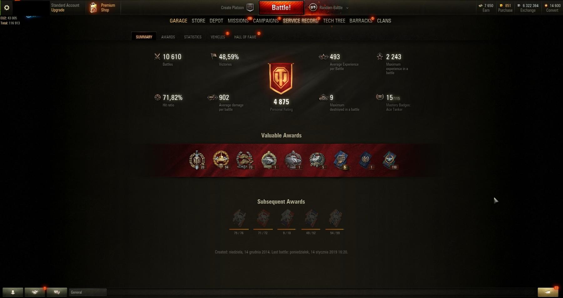 Personal Rating:4875! Victories:48,59% !23 TANKS:T-100 LT, Object 140, Bat.- Chatillon 25 t! Clan Battle Account!