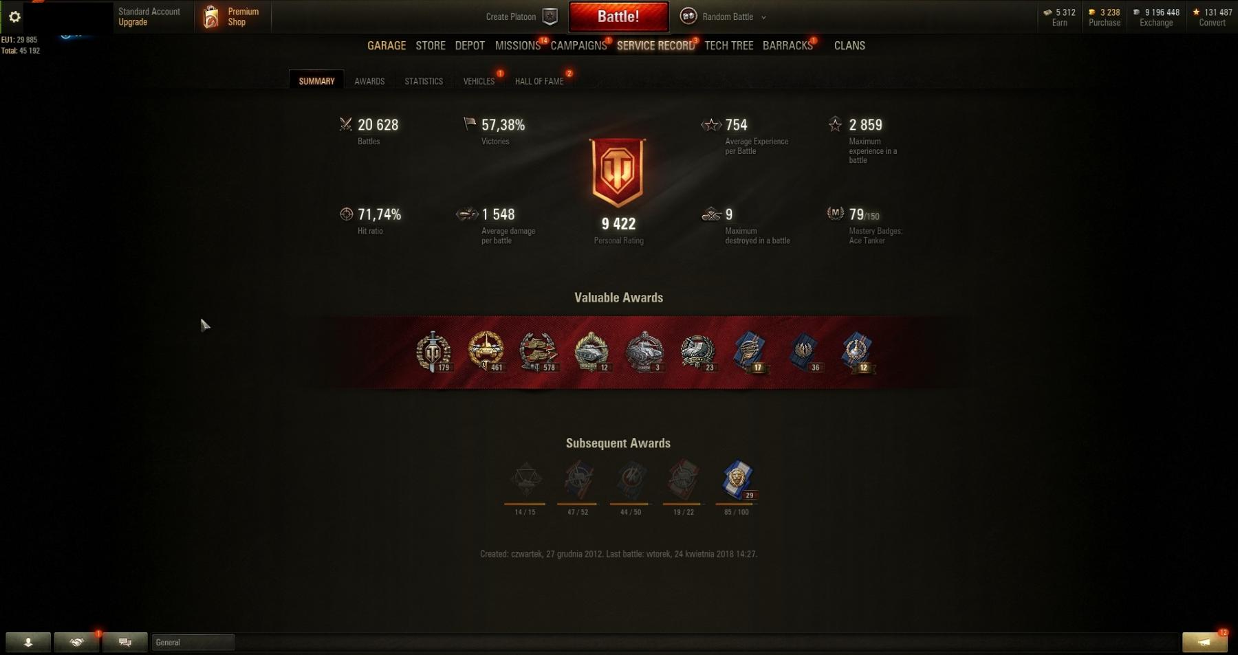 WN8: 2411,84! Personal Rating:9422! Victories:57,38%! 57 TANKS: VK 72.01 (K), Object 907! Clan Battle Account!