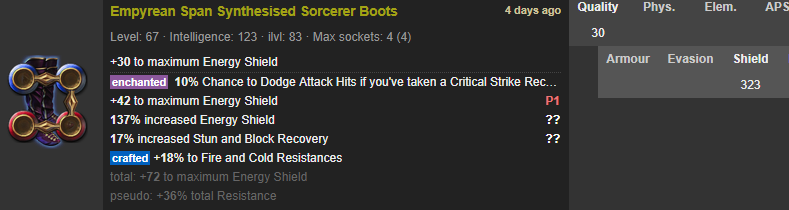 Rare Boots 4-linked 323 ES +36% Total Res