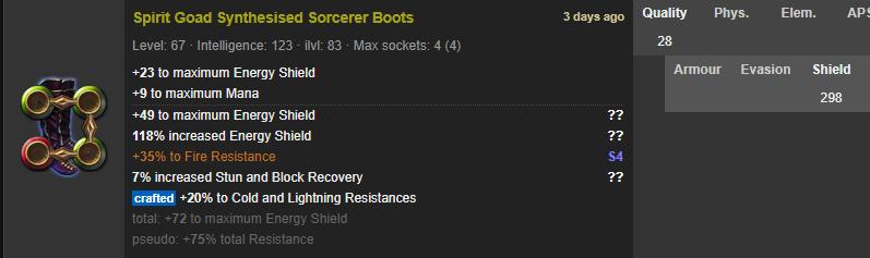 Rare Boots 4-linked 298 ES +75% Total Res Buccaneers - e2p.com
