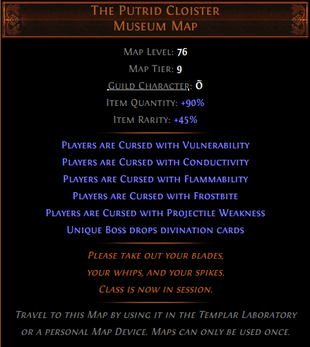 The Putrid Cloister Museum Map
